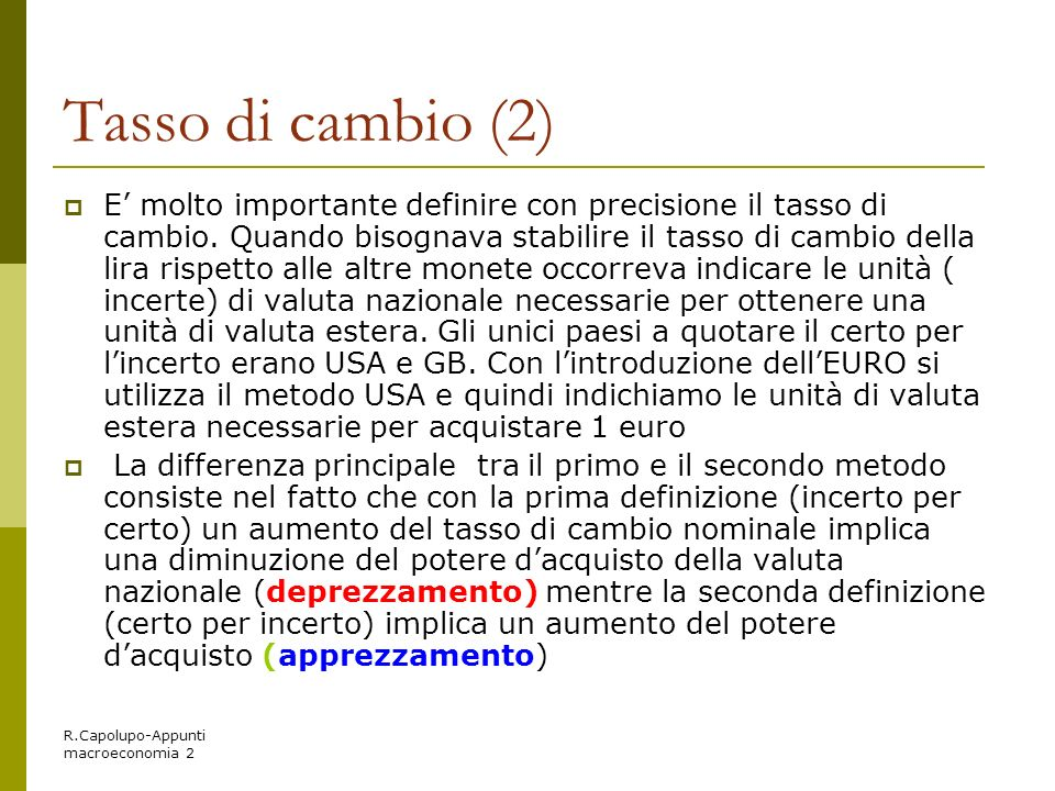 Tasso di cambio (2)