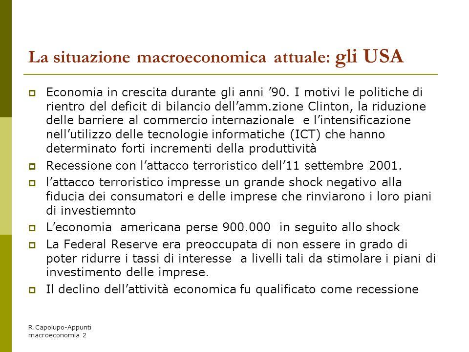 La situazione macroeconomica attuale: gli USA