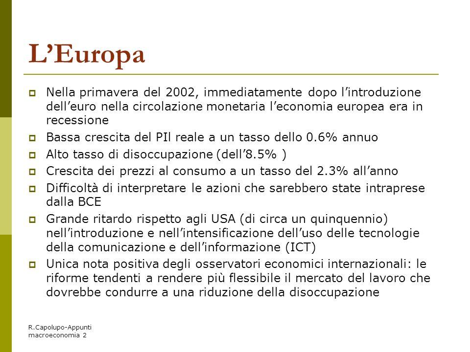 L'Europa Nella primavera del 2002, immediatamente dopo l'introduzione dell'euro nella circolazione monetaria l'economia europea era in recessione.