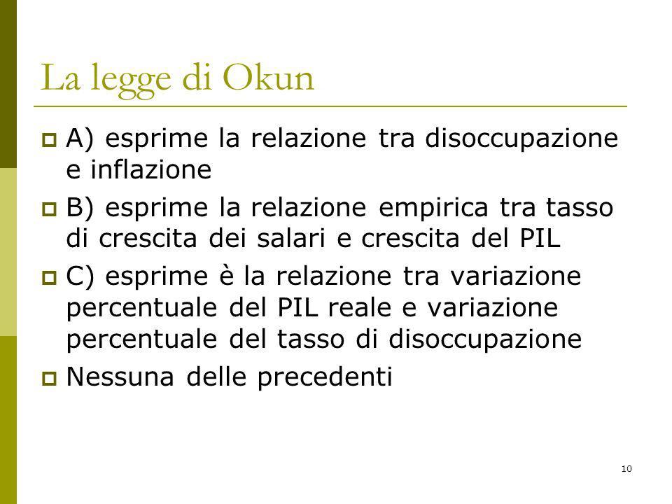 La legge di Okun A) esprime la relazione tra disoccupazione e inflazione.