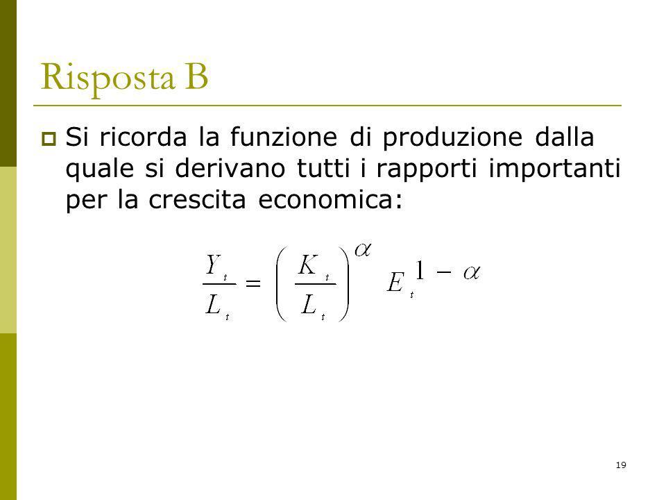 Risposta B Si ricorda la funzione di produzione dalla quale si derivano tutti i rapporti importanti per la crescita economica:
