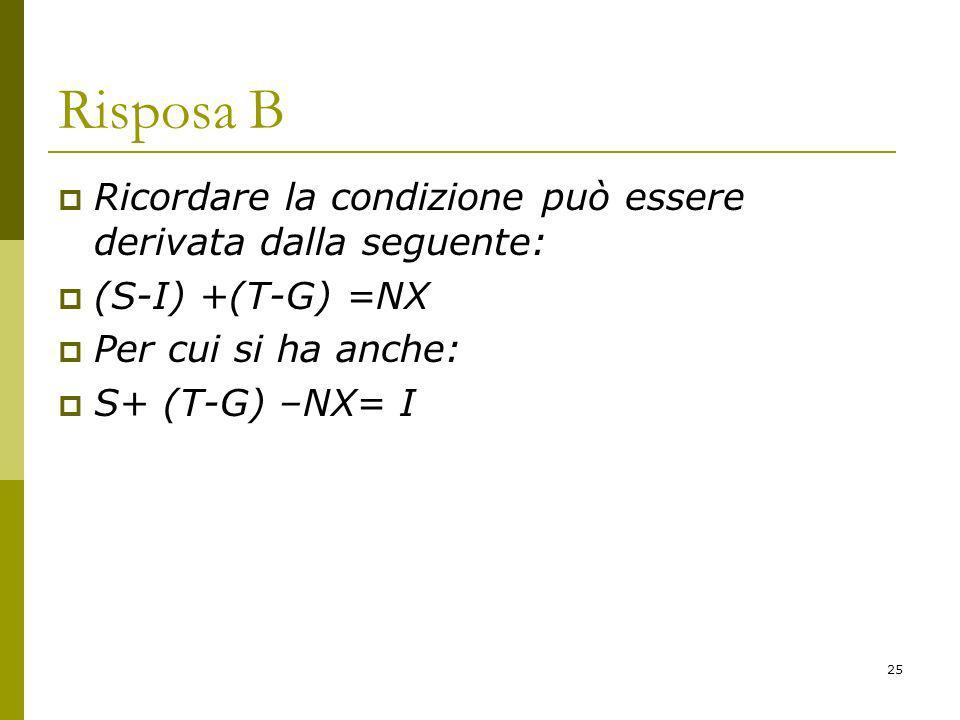 Risposa B Ricordare la condizione può essere derivata dalla seguente: