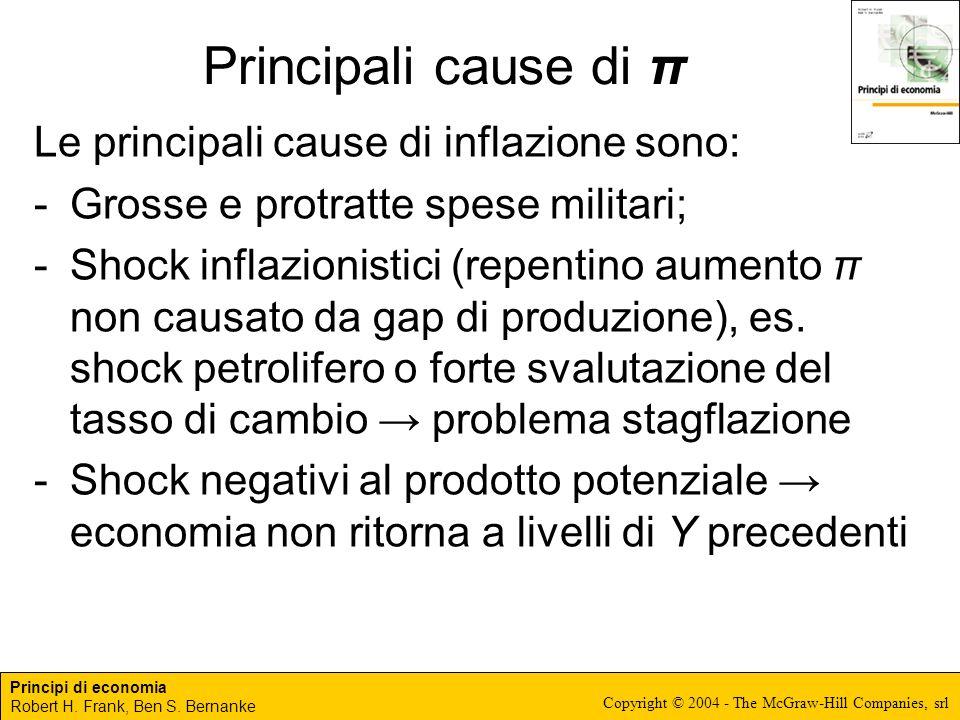 Principali cause di π Le principali cause di inflazione sono: