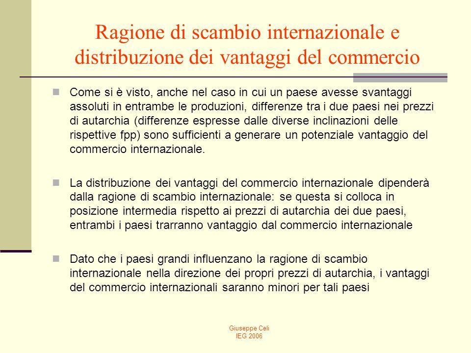 Ragione di scambio internazionale e distribuzione dei vantaggi del commercio
