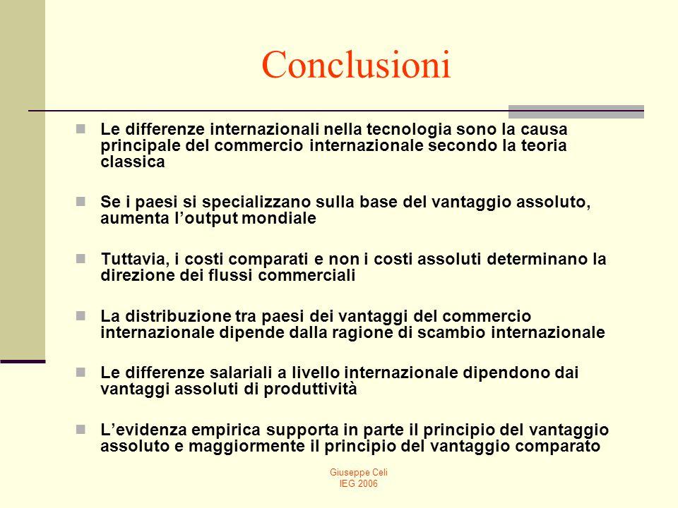 Conclusioni Le differenze internazionali nella tecnologia sono la causa principale del commercio internazionale secondo la teoria classica.