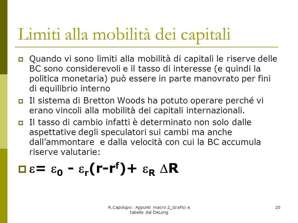 Limiti alla mobilità dei capitali