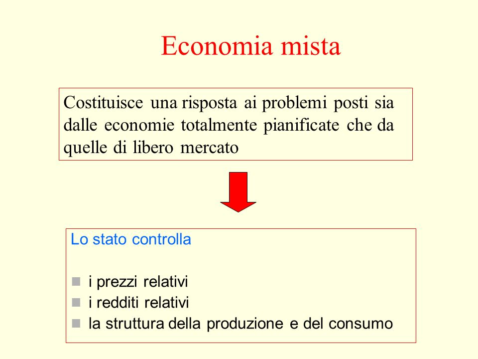 Economia mista Costituisce una risposta ai problemi posti sia dalle economie totalmente pianificate che da quelle di libero mercato.