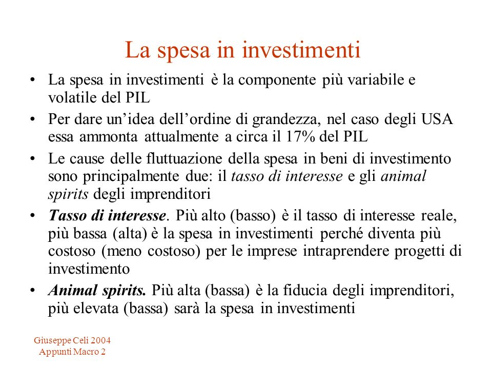 La spesa in investimenti