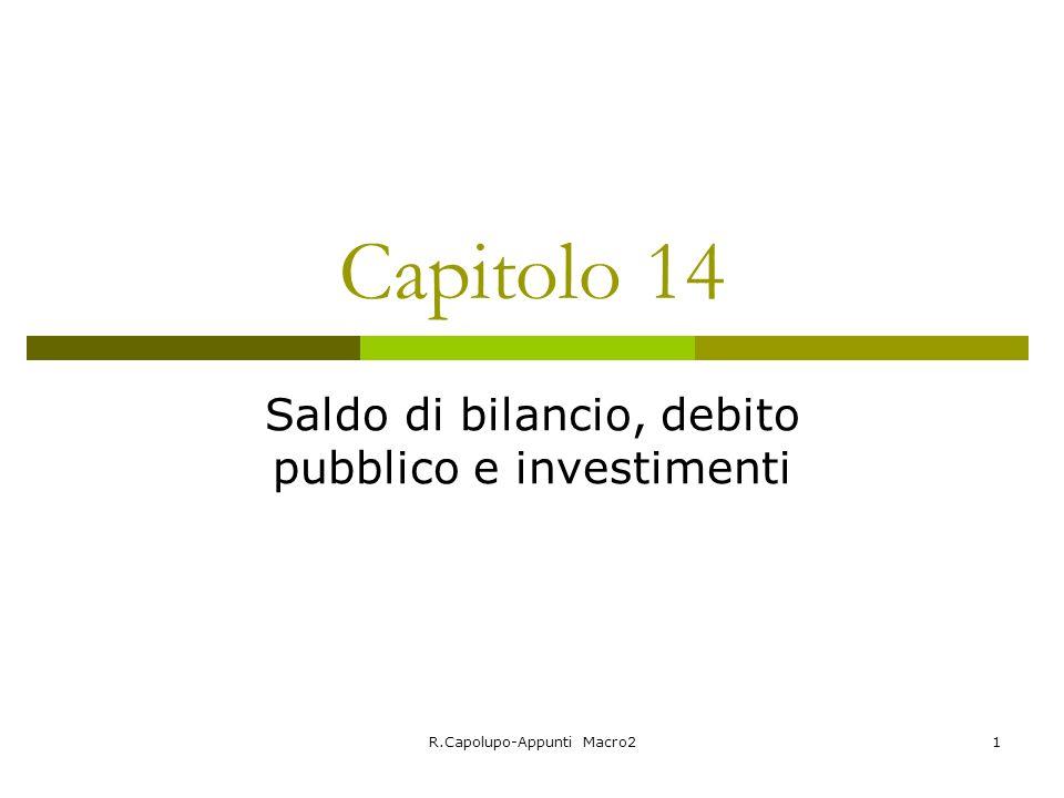 Saldo di bilancio, debito pubblico e investimenti
