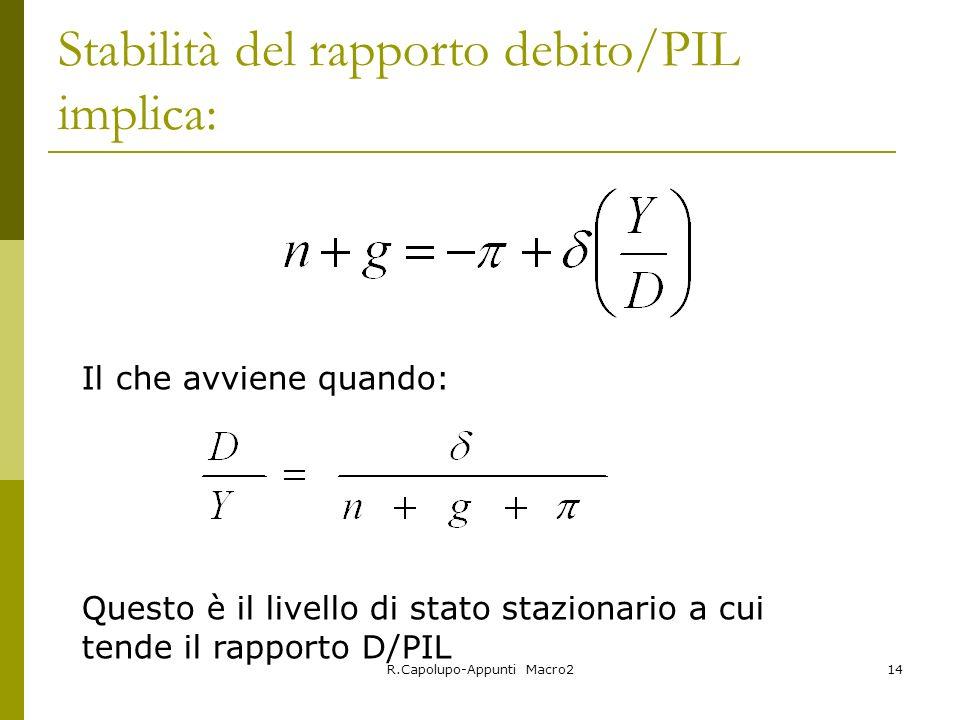 Stabilità del rapporto debito/PIL implica: