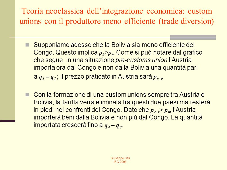 Teoria neoclassica dell'integrazione economica: custom unions con il produttore meno efficiente (trade diversion)