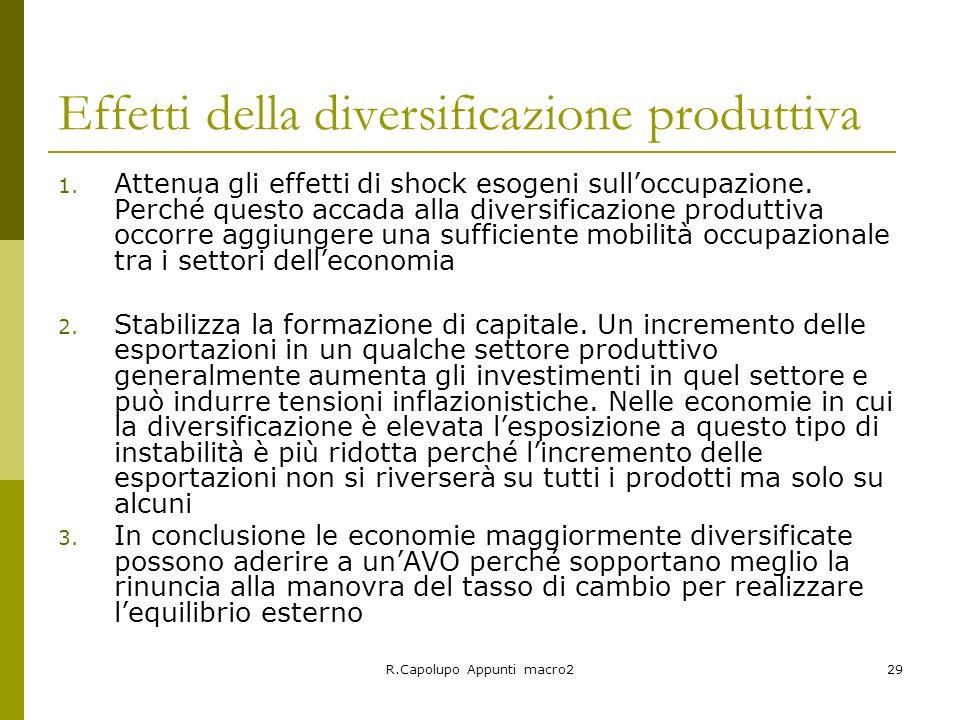 Effetti della diversificazione produttiva