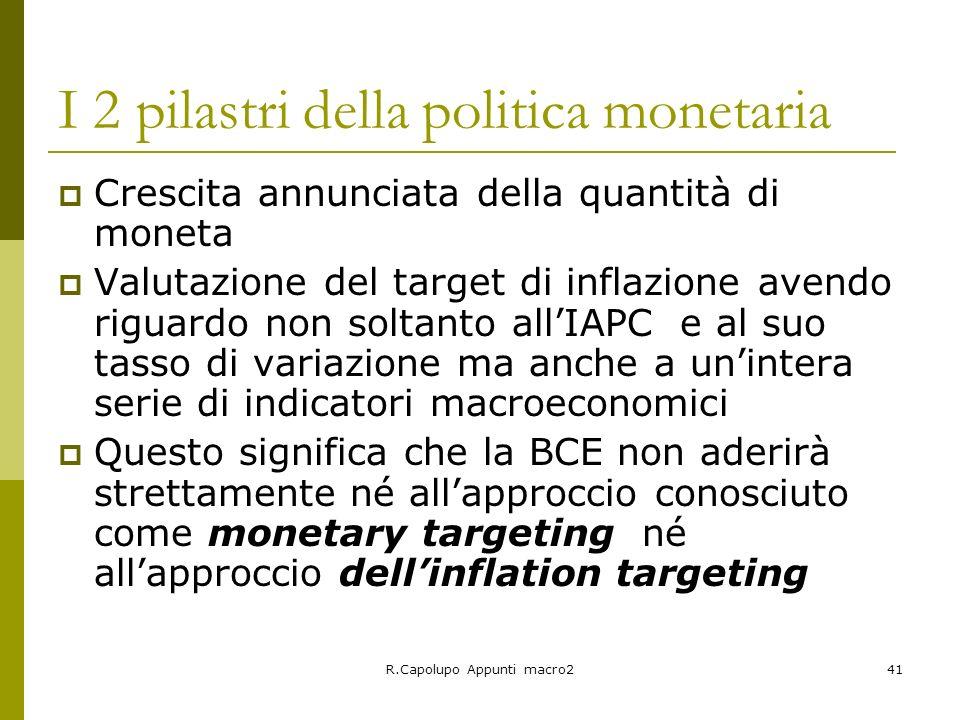 I 2 pilastri della politica monetaria