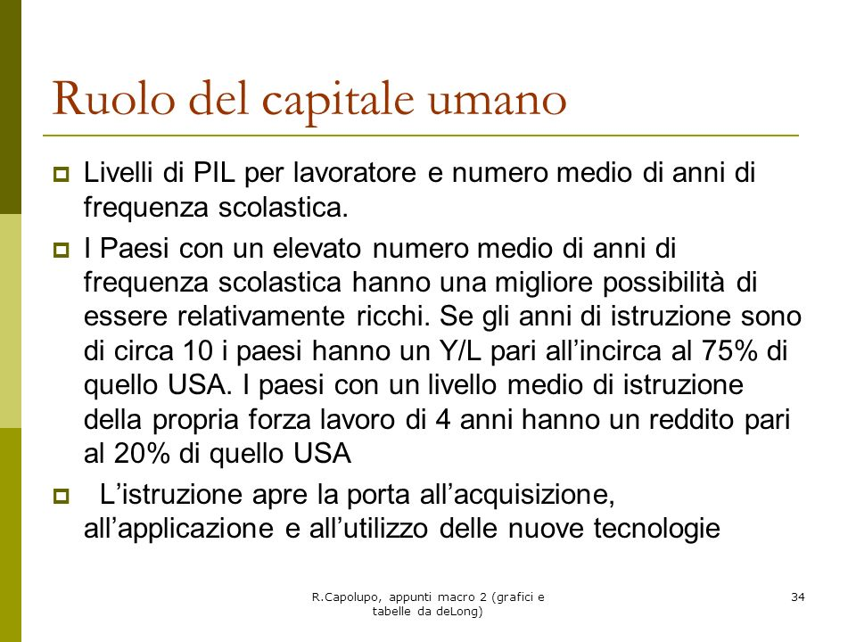 Ruolo del capitale umano