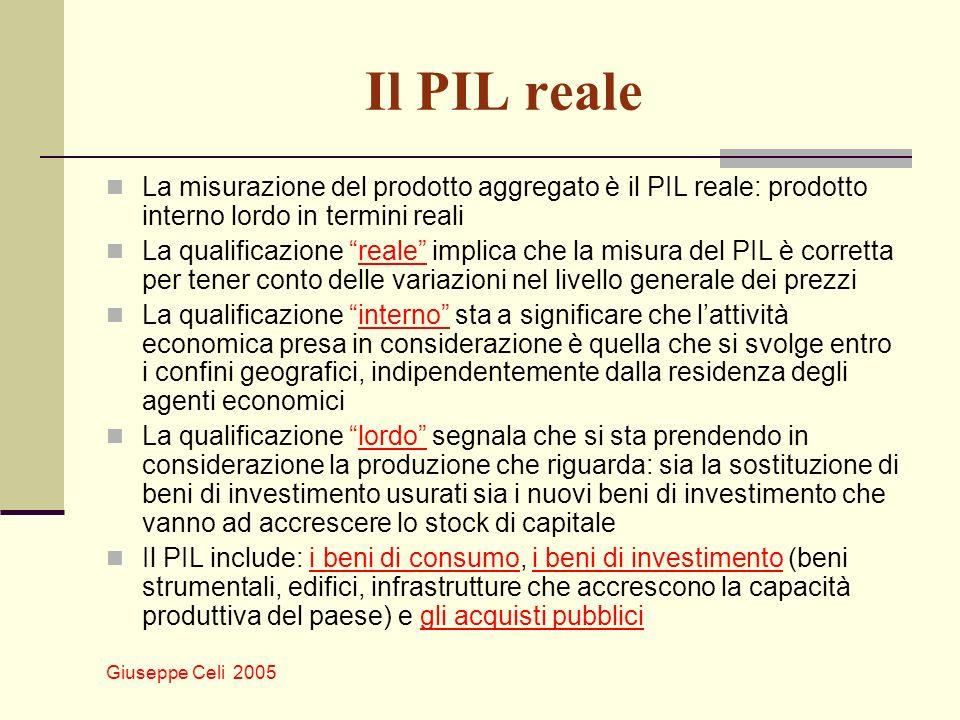 Il PIL reale La misurazione del prodotto aggregato è il PIL reale: prodotto interno lordo in termini reali.