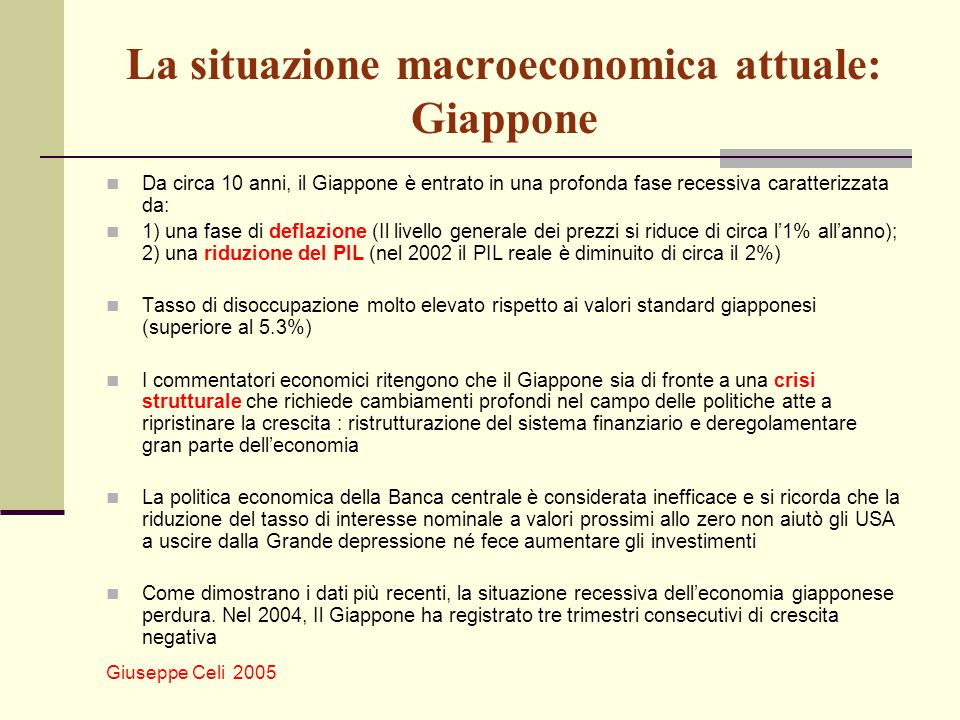 La situazione macroeconomica attuale: Giappone