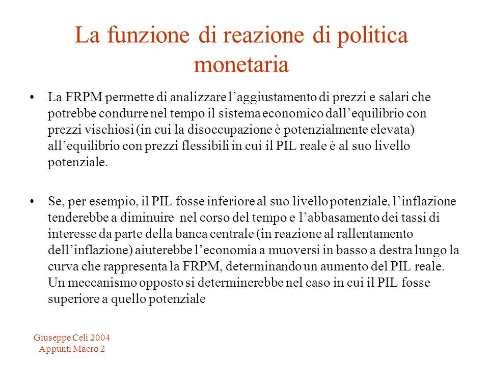 La funzione di reazione di politica monetaria