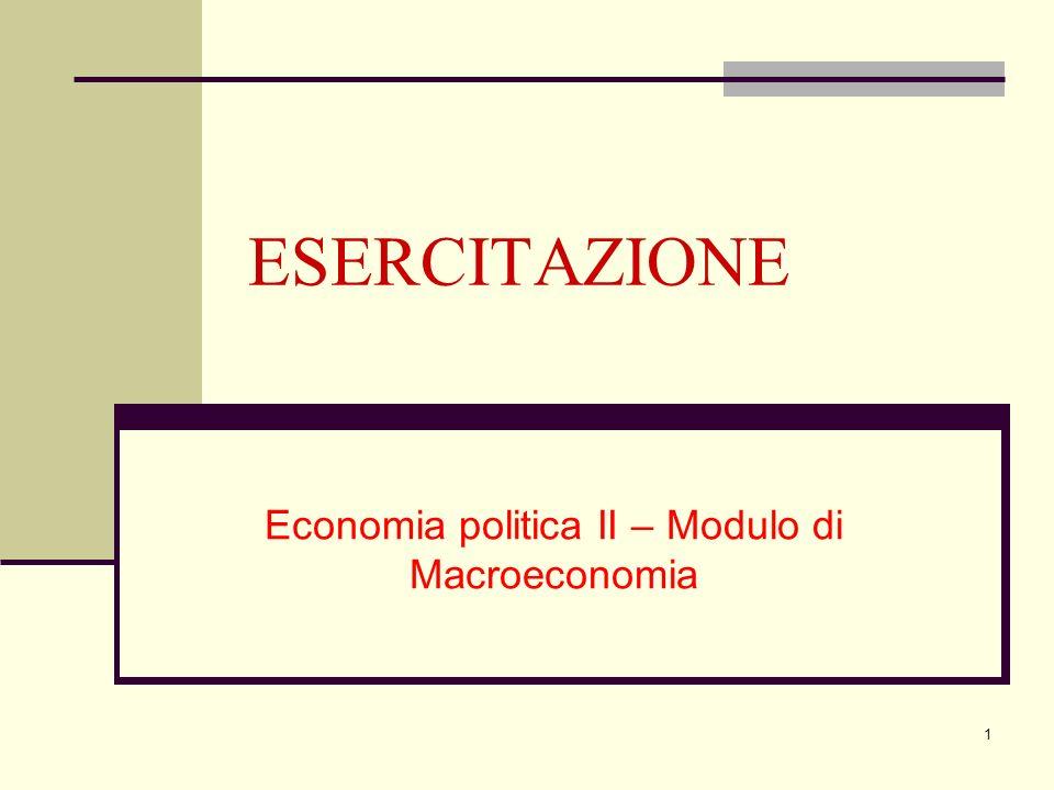 Economia politica II – Modulo di Macroeconomia