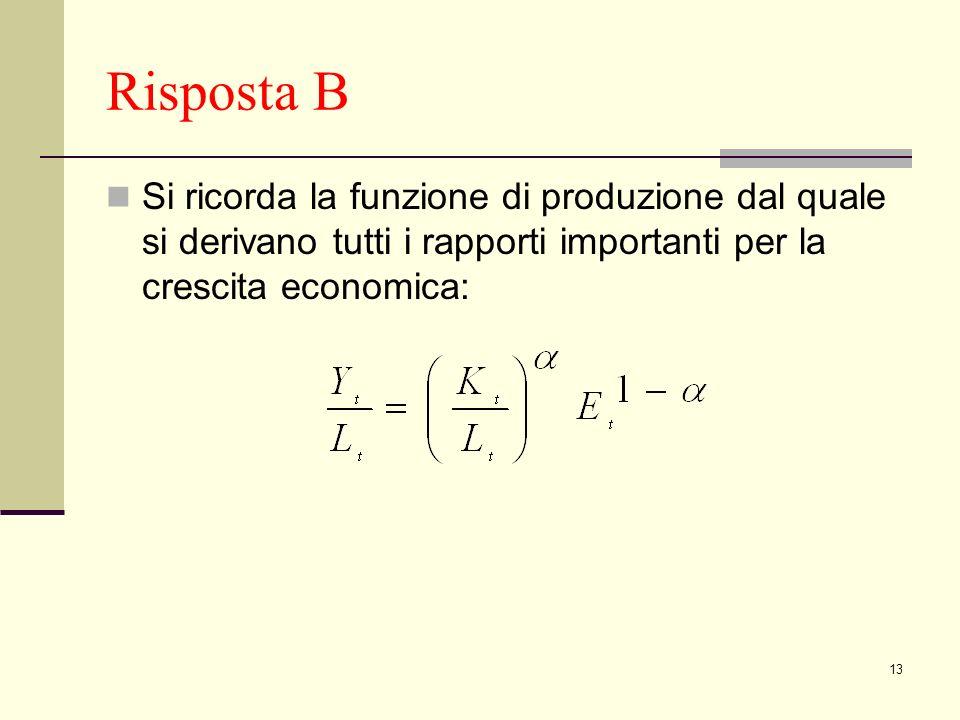 Risposta B Si ricorda la funzione di produzione dal quale si derivano tutti i rapporti importanti per la crescita economica: