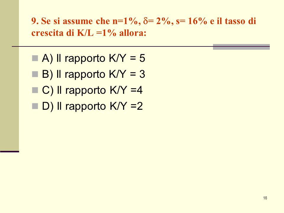 A) Il rapporto K/Y = 5 B) Il rapporto K/Y = 3 C) Il rapporto K/Y =4