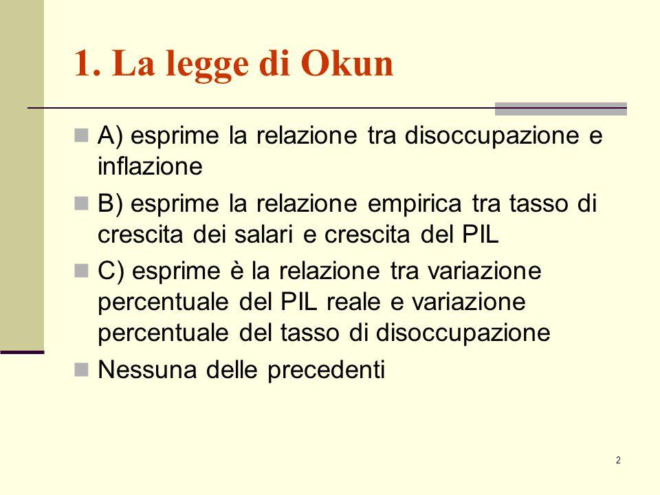 1. La legge di Okun A) esprime la relazione tra disoccupazione e inflazione.