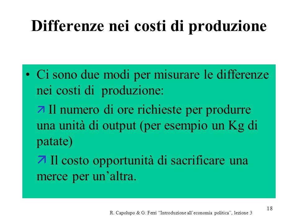 Differenze nei costi di produzione
