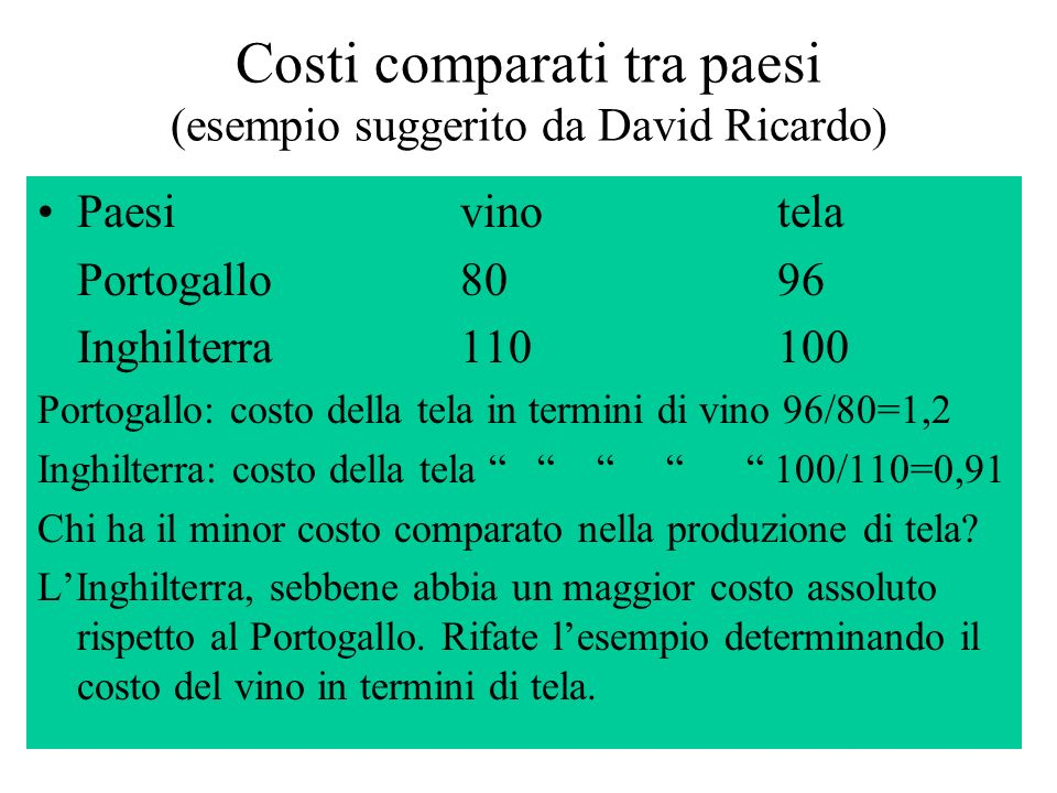 Costi comparati tra paesi (esempio suggerito da David Ricardo)