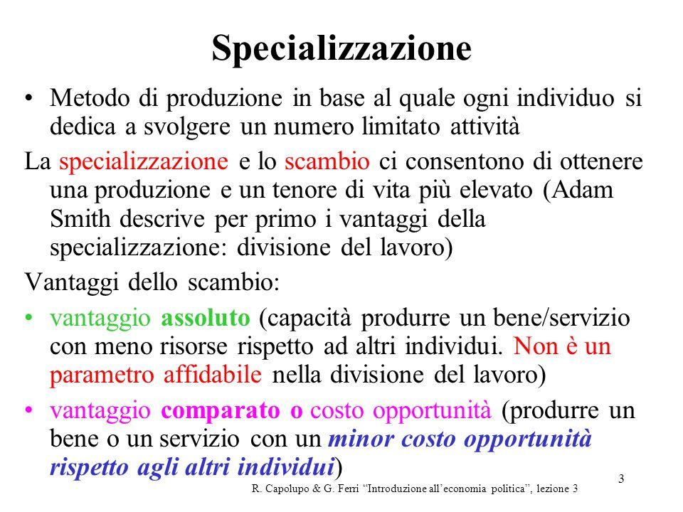 Specializzazione Metodo di produzione in base al quale ogni individuo si dedica a svolgere un numero limitato attività.