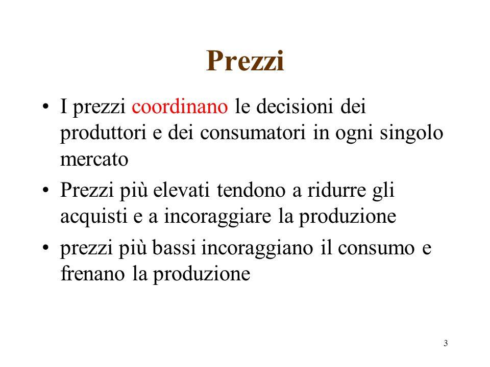 Prezzi I prezzi coordinano le decisioni dei produttori e dei consumatori in ogni singolo mercato.