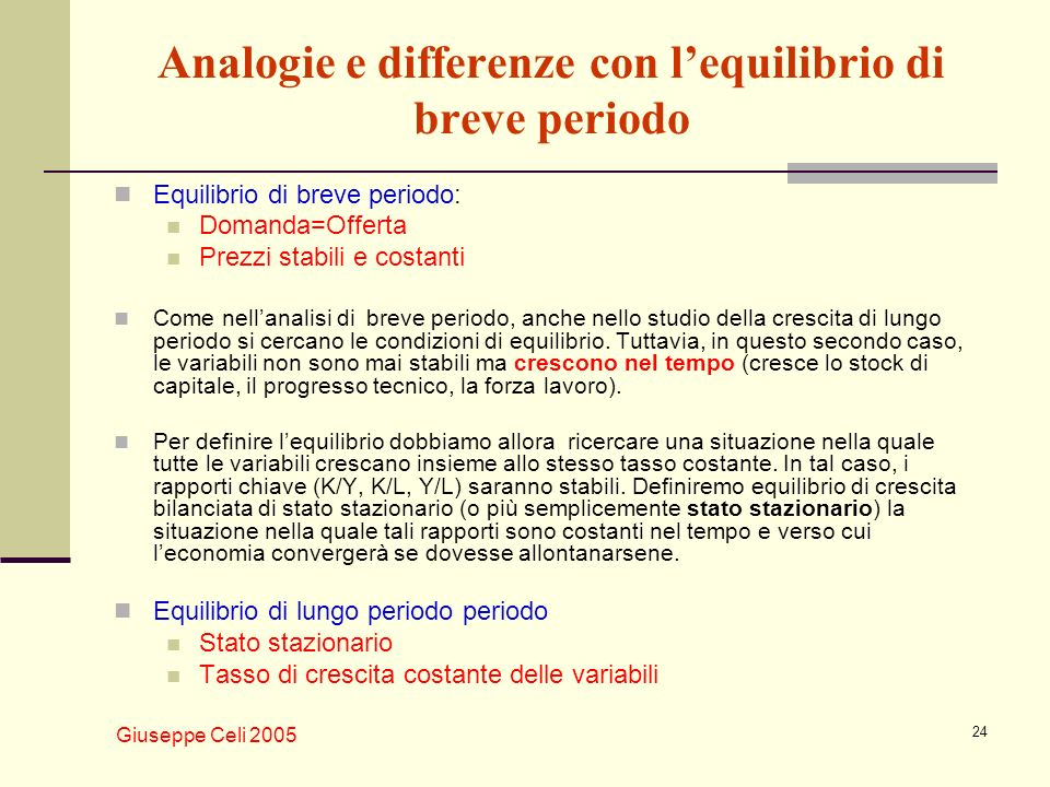 Analogie e differenze con l'equilibrio di breve periodo