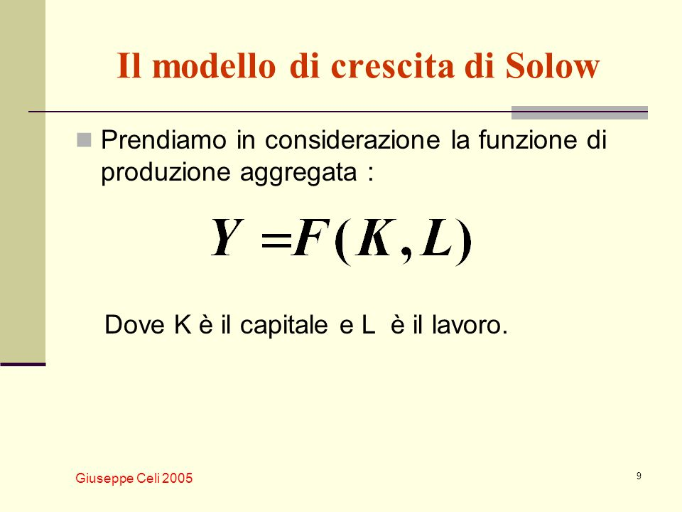 Il modello di crescita di Solow