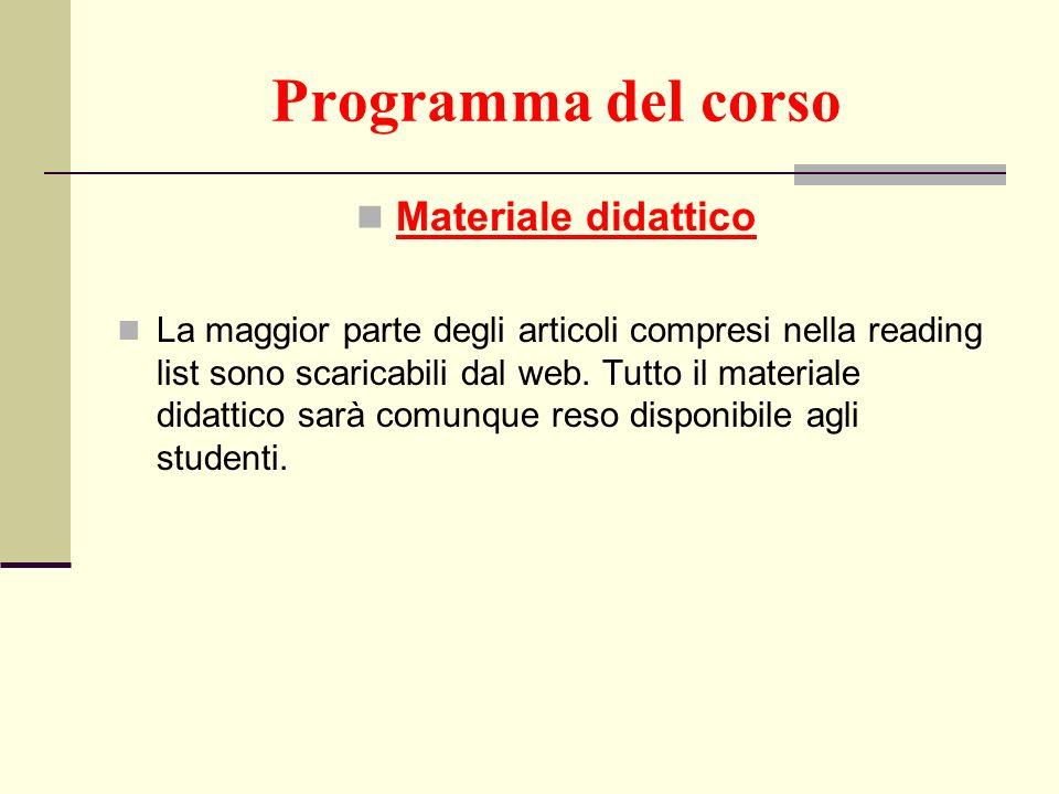 Programma del corso Materiale didattico