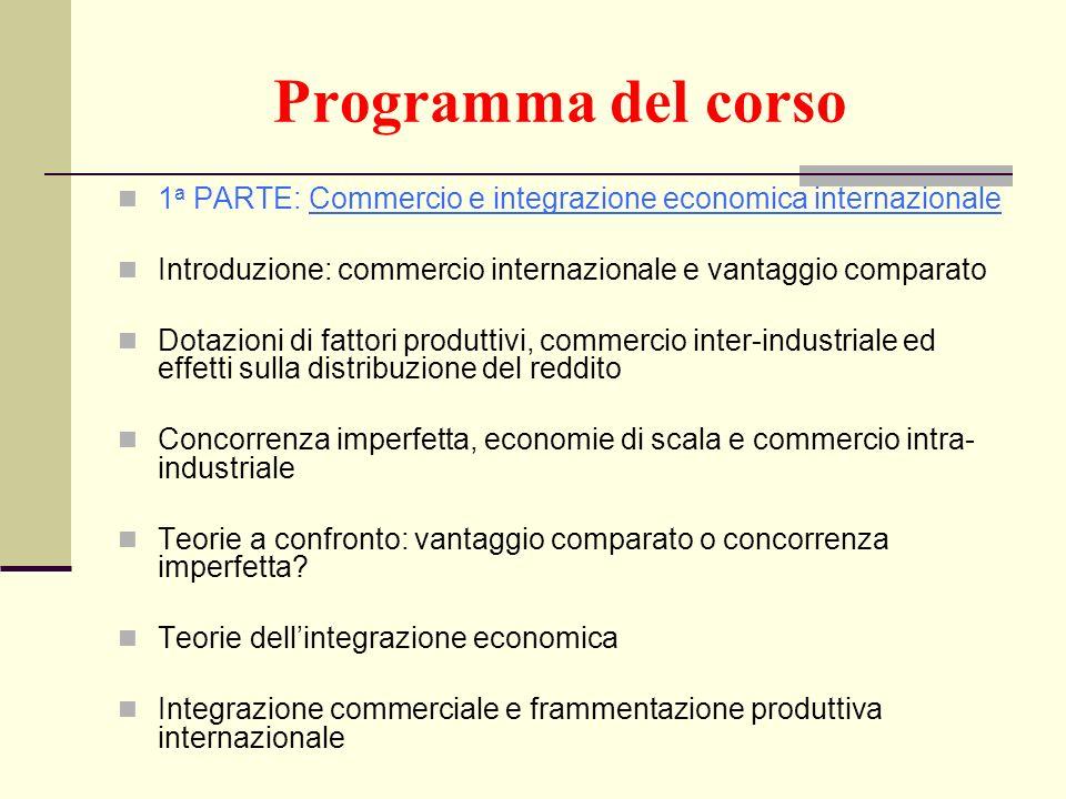 Programma del corso 1a PARTE: Commercio e integrazione economica internazionale. Introduzione: commercio internazionale e vantaggio comparato.