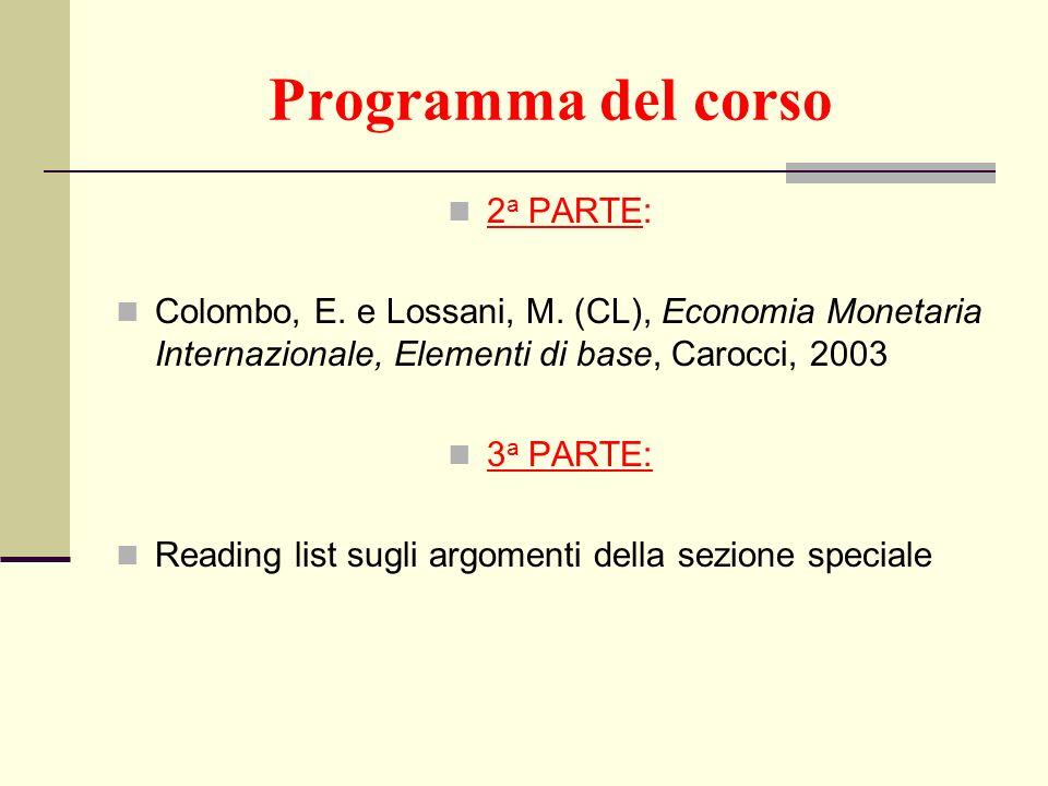 Programma del corso 2a PARTE:
