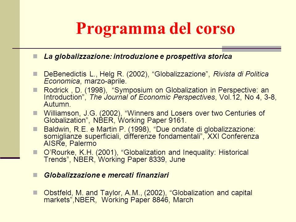 Programma del corso La globalizzazione: introduzione e prospettiva storica.