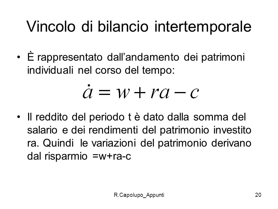 Vincolo di bilancio intertemporale