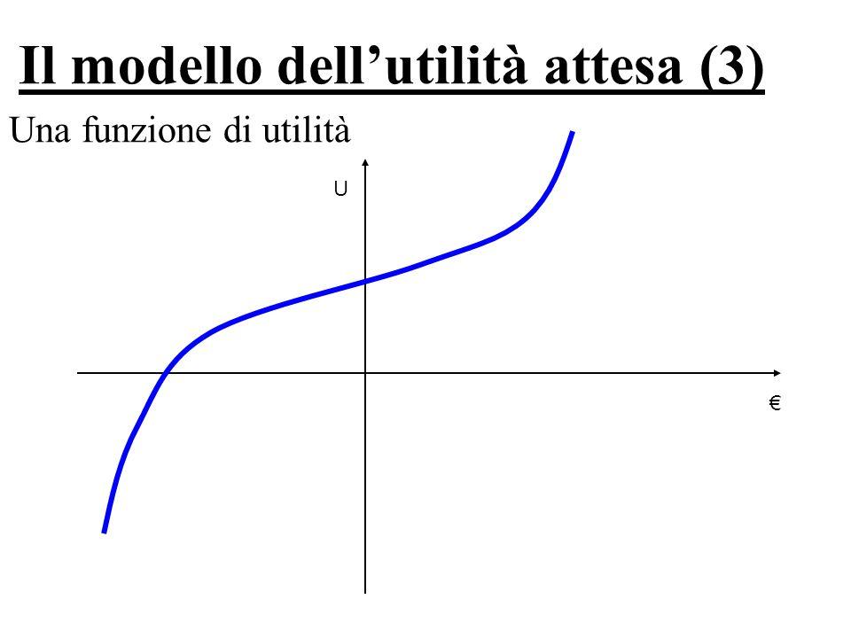 Il modello dell'utilità attesa (3) Una funzione di utilità