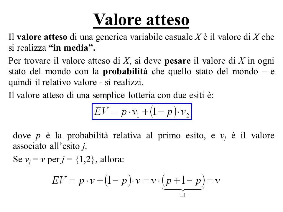 Valore atteso Il valore atteso di una generica variabile casuale X è il valore di X che si realizza in media .