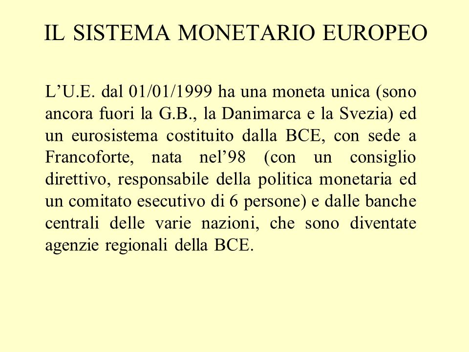 il sistema monetario europeo