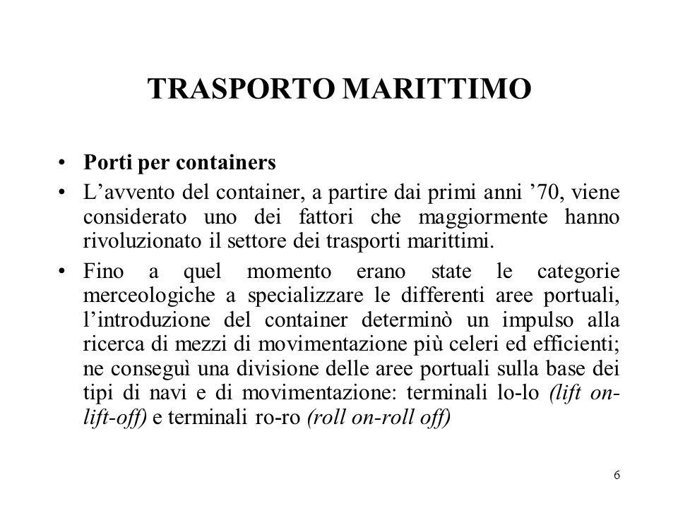 TRASPORTO MARITTIMO Porti per containers