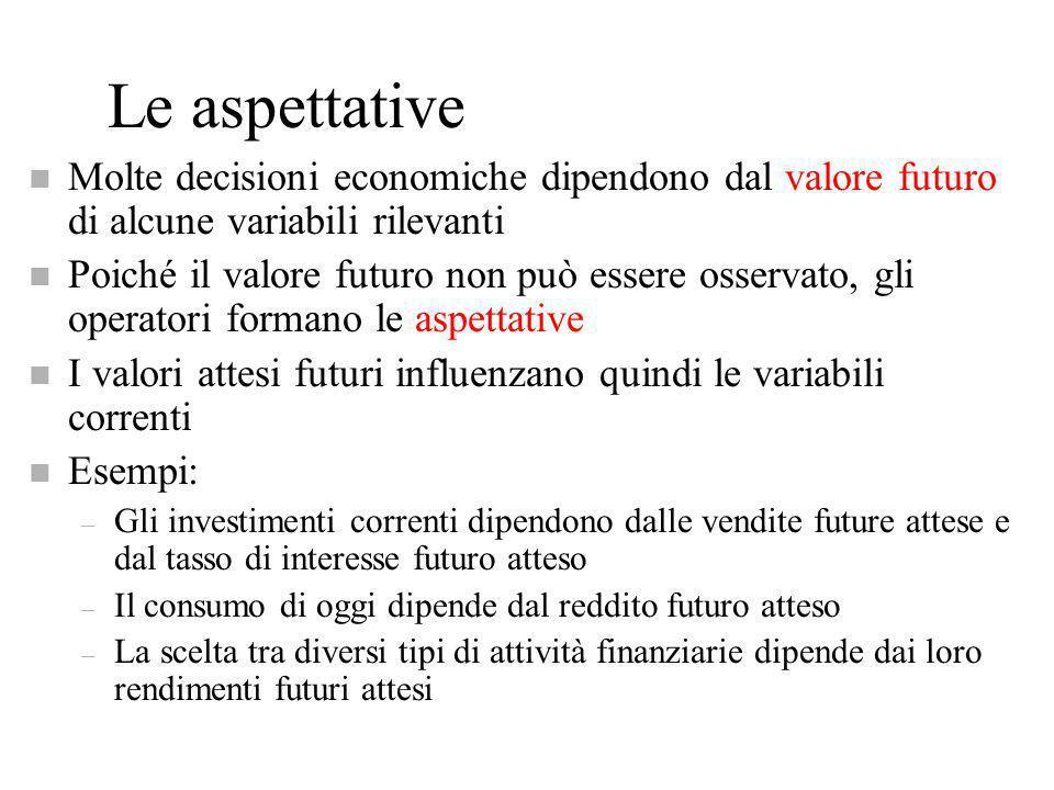 Le aspettative Molte decisioni economiche dipendono dal valore futuro di alcune variabili rilevanti.