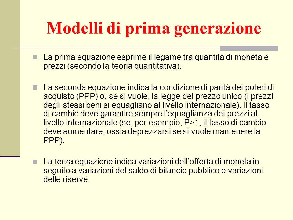 Modelli di prima generazione