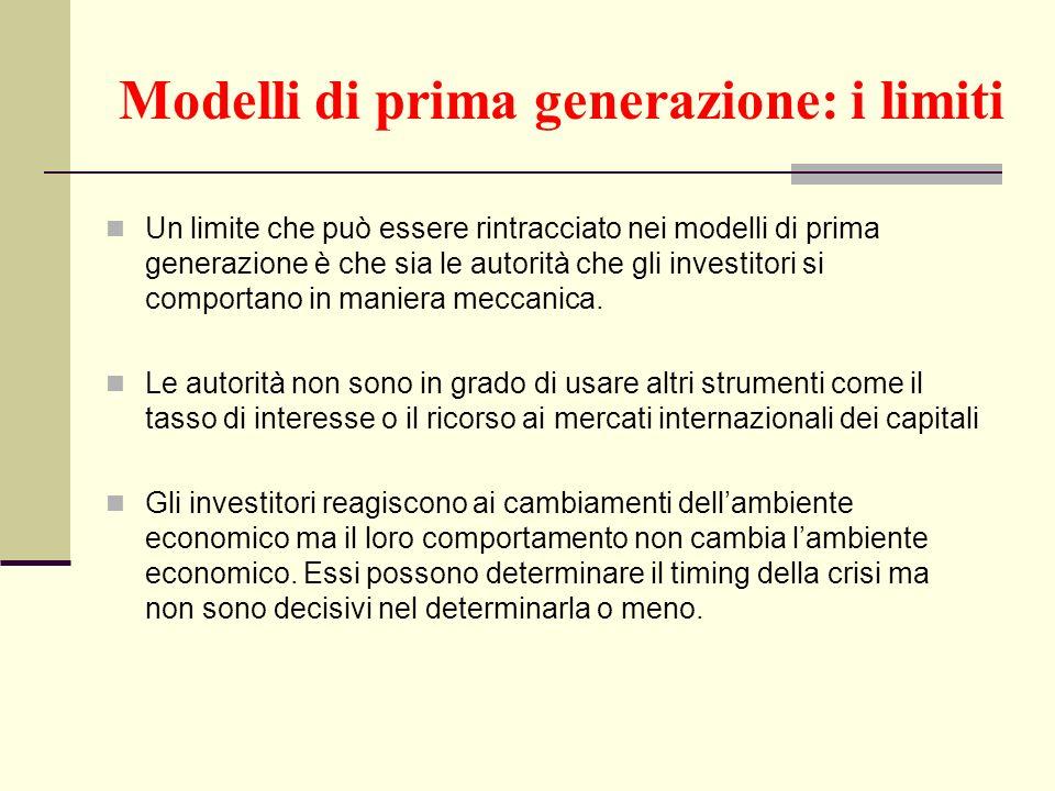 Modelli di prima generazione: i limiti