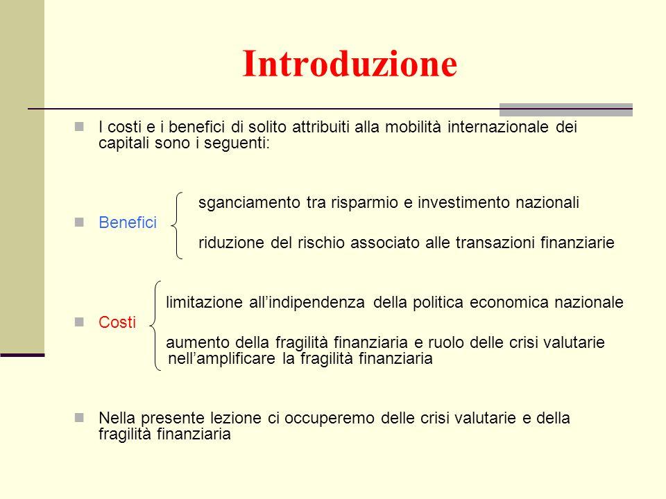 Introduzione I costi e i benefici di solito attribuiti alla mobilità internazionale dei capitali sono i seguenti: