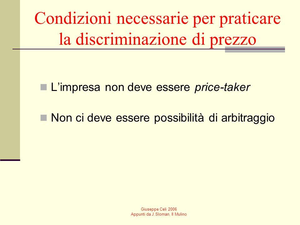 Condizioni necessarie per praticare la discriminazione di prezzo