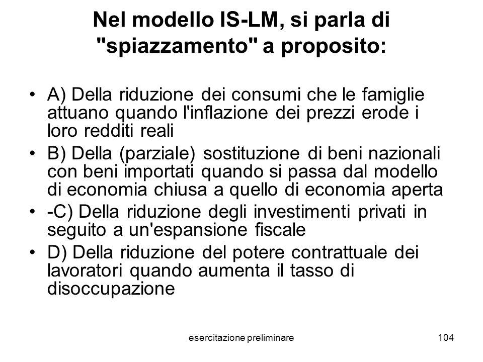 Nel modello IS-LM, si parla di spiazzamento a proposito: