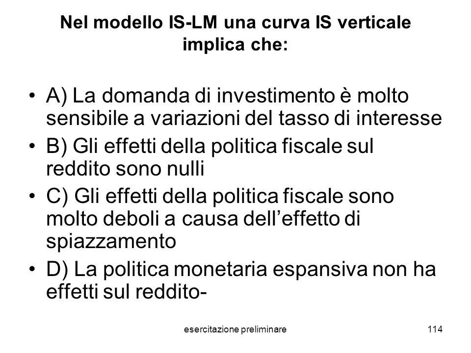 Nel modello IS-LM una curva IS verticale implica che: