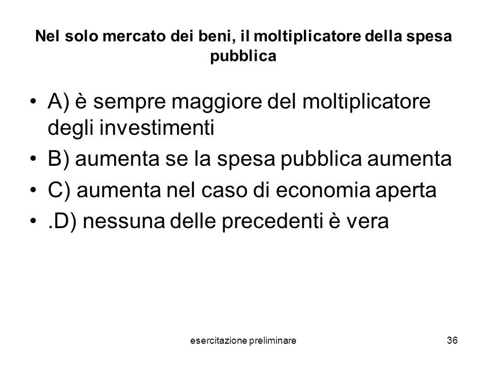 Nel solo mercato dei beni, il moltiplicatore della spesa pubblica