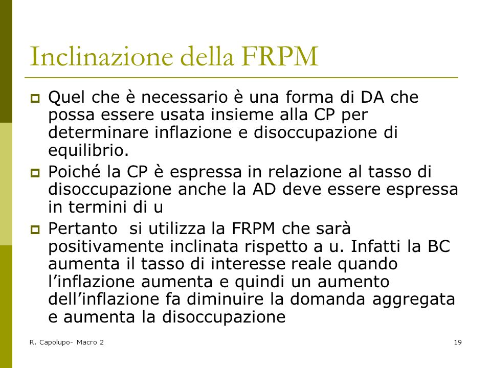 Inclinazione della FRPM