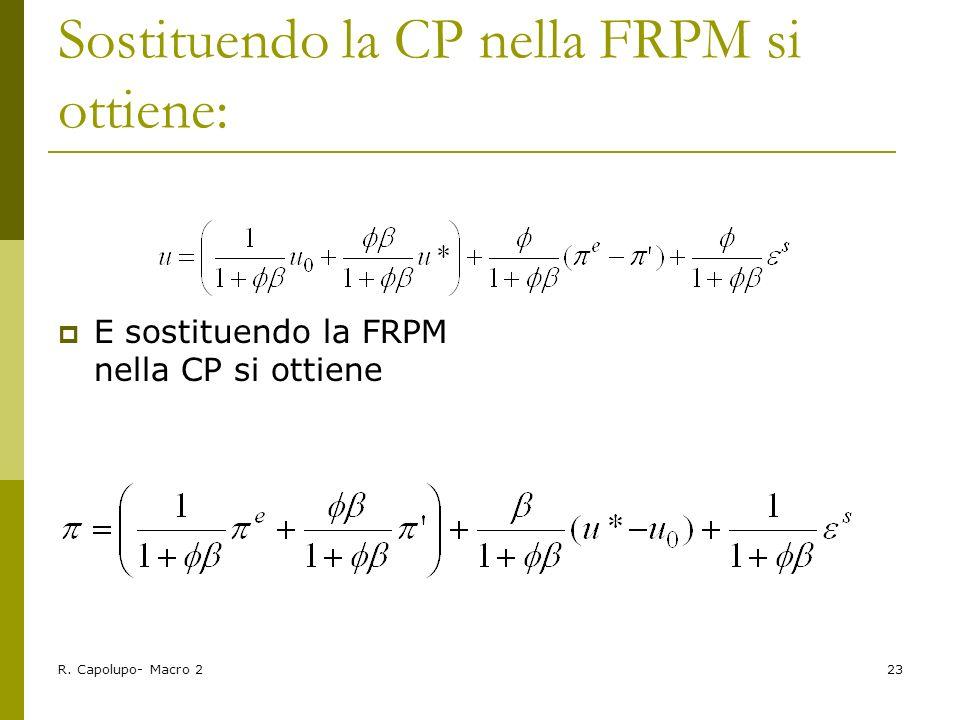 Sostituendo la CP nella FRPM si ottiene: